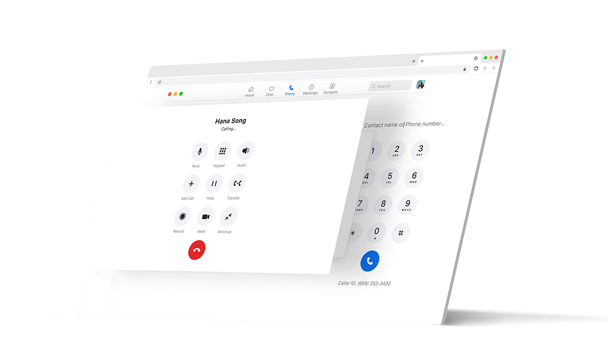 An iPad and browser screen displaying a voice call